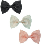 Floral Lace Bow Alligator Hair Clips, 3-Pack, Black, White & Pink