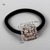 FUMUD Silver Plated Rhinestone Crystal Stretch Elastic Band Hair Tie Ponytail Holder