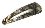 French Amie Clic Clac Large Onyx Silver Grey Handmade Snap Hair Pin Clip