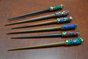 6 Pcs Assort Colour Shell Gold Plated Wood Hair Stick Pins