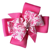 Victory Bows Large 15cm Hot Pink Flower Breast Cancer Awareness Hair Bow- Made in USA- Monica Go Pink French Clip