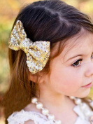 Venusvi Big Large Hair Bow Clip Barrette for Toddler Young Girl {golden}