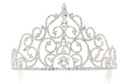 10cm - 0.3cm Grand Pagent Queen Crystal Flower Tiara Crown - Silver Plated T1191