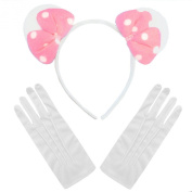 Minnie Mouse Pink White Polkadot Plush Bow Fancy Dress Party Ears + White Gloves