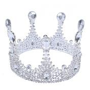 FUMUD 8.7cm High Luxury Round Tall Drop Crystal Crown Wedding Bridal Rhinestone Crowns Tiara Pageant Prom Headband