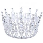 FUMUD 9.2cm High Wedding Bridal Crystal Rhinestone Crown Tiara Prom Pageant Full Crowns Headband