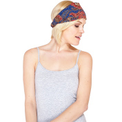 Funky Floral Ikat Active Cotton Headband-Blue-One Size