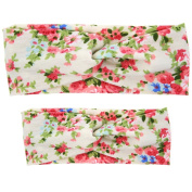 Fullkang New Adults And Baby Floral Rabbit Ears Elastic Cloth Bowknot Headband Set