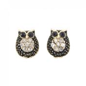 Tiny Cute Gold-tone Black Owl Stud Earrings