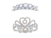 FUMUD 2PCS Wedding Decorative Ivory Colour Simulated Pearl Hair Comb Clear Austrian Crystal