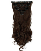 S-noilite® 43cm Curly Medium Brown Full Head Clip in Hair Extensions 8 Piece 18 Clips Hairpiece Trendy Design USA Local Post