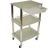 LCL Beauty Glass & Chrome Roller Trolley and Product Display Shelf Spa Salon Beauty Equipment