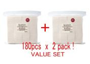 MUJI Makeup Facial Soft Cut Cotton Unbleached 60x50 mm 180pcs x 2 Packs (Total 360 Sheets) Value Set