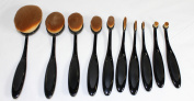 Kingfansion 10PC/Set Toothbrush Style Eyebrow Foundation Eyeliner Lip Oval Makeup Brushes
