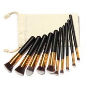 Yoyorule 10 Pcs Makeup Brushes Set Makeup Brushes Kit Draw String Makeup Bag