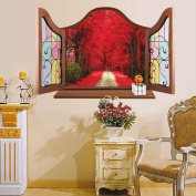 Fange DIY Removable 3d Retro Vintage Ancient China Window Red Maple Scenery Through Faux Window View Art Mural Vinyl Waterproof Wall Stickers Living Room Decor Decal Sticker 90cm x 60cm