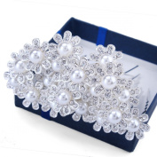 Santfe Crystal Rhinestons Flower Style Hair Pins Hair Clips for Bridal Party, Bridesmaids, Proms, Pageants, Pack of 20pcs
