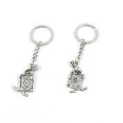 80 Pieces Keyring Keychain Keytag Key Ring Chain Tag Door Car Wholesale Jewellery Making Charms X8LS3 Poker Rabbit