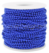CleverDelights Ball Chain Roll - 30m - Electric Blue - 2.4mm Ball - Metal Ball Bead Chain