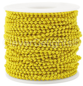 CleverDelights Ball Chain Roll - 30m - Metallic Yellow Colour - 2.4mm Ball - Metal Ball Bead Chain