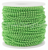 CleverDelights Ball Chain Roll - 9.1m - Metallic Green Colour - 2.4mm Ball - Metal Ball Bead Chain