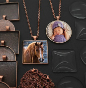 20 Pack Large Square and Circle Assortment Copper Photo Pendants w/ Glass 3.8cm + 20 Link Chains Includes Bonus Ez Photo Jewellery Software
