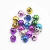 "Fujiyuan 100 pcs 6MM 1/4"" Charms Jingle Bell Craft Sewing Mixed Colour"