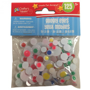 125 Neon Googly Wiggle Eyes in 3 sizes