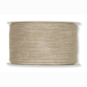 FloristryWarehouse Fabric Ribbon 5.1cm Wide x 9yds Linen Look Natural Wired Edge