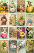 Vintage Victorian Easter Cards Collage Sheet # 103 For Art, Scrapbooking, Altered Art