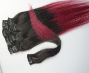 46cm 7pcs Clips in Human Hair Extensions Ombre Hair 70g/set Woman Beauty Cosplay Wig,