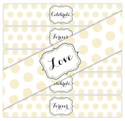 24 Large Dots WATERPROOF Water Bottle Stickers   CELEBRATE, LOVE, FOREVER   8 of each phrase