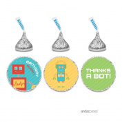Andaz Press Robot Birthday Collection, Birthday Alert Chocolate Drop Label Stickers Trio, 216-Pack, Fits Hershey's Kisses Party Favours