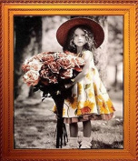 Home Decoration 5D DIY Printed Needlework Sets Counted Cross Stitch Kits Embroidery Kits, Roses Girl