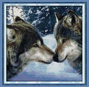 Joy Sunday® Cross Stitch Kit 11CT Stamped Embroidery Kits Precise Printed Needlework- The kiss of wolves 56×56CM