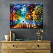 Haokuo Diy Oil Painting, Paint by Number Kit Theme-Romantic Street 16*50cm