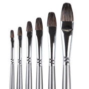 Artist Brush Painting Set.6 Piece Professional Brushes Made of Badger Hair,Long Handle.Equally Useful for Oil, Acrylic & Watercolour Fine Art Set.Perfect for Advanced & Beginner Artists, Students, and Professionals.
