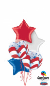 Qualatex Patriotic Foil Stars & Bubbles 6pc Balloon Pack Red White Blue