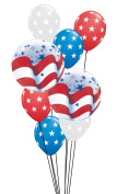 Qualatex Patriotic Stars & Stripes 9pc Balloon Pack Red White Blue