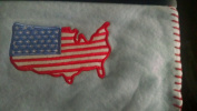 Embroidered Applique USA 30 by 30 Blue Baby Fleece Blanket