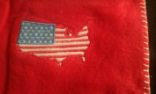 Embroidered Applique USA 30 by 30 Red Baby Fleece Blanket