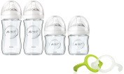 Philips Avent 120ml & 240ml Natural Glass Bottles with Olababy Trainer Handles
