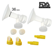 36 mm Extra Extra Large Flagne w/ Valve and Membrane for SpeCtra Breast Pumps S1, S2, M1, Spectra 9; Narrow (Standard) Bottle Neck; Made by Maymom