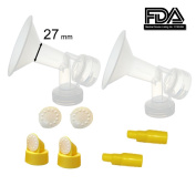 27 mm Large Flagne w/ Valve and Membrane for SpeCtra Breast Pumps S1, S2, M1, Spectra 9; Narrow (Standard) Bottle Neck; Made by Maymom