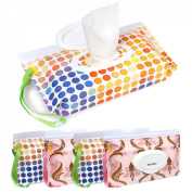 Ava & Kings 4pc Resealable Baby Wipe Case - (2) Gradient Dots (2) Pink Damask