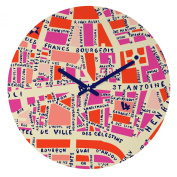 DENY Designs Holli Zollinger Paris Map Pink Round Clock, 30cm Round