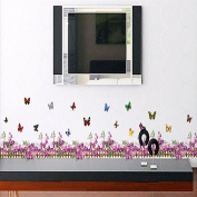 Purple Fence Flowers Butterflies Skirting Line Wall Sticker Paper Home Decal Removable Wall Vinyl Living Room Bedroom PVC Art Picture Murals Waterproof DIY Stick for Adults Teems Childres Kids Nursery Baby