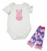 Easter Dress Dots Rabbit White Cotton Jumpsuit Bunny Leg Warmer Nb-18m