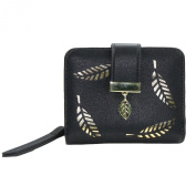 ETIAL Women's Soft Leather Cut-Out Leaf Short Bifold Wallet Coin Purse