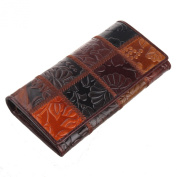 Texbo Women's Natural Wax Cowhide Leather Long Wallet Smartphone Clutch